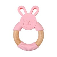 Hacloser Newborn Kids Bite Toy Infants Nursing Accessories Baby Teether Cartoon Rabbit Shape Silicone Wooden Ring Toys