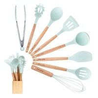 Kitchen Utensil Set Silicone Cooking Utensils 9Piece - Cooking Utensils Set with Bamboo Wood Handles for Nonstick Cookware,BPA Free, Non Toxic Turner Tongs Spatula Spoon Set.-Chefs Hand