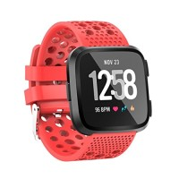 Alonea Fitbit Versa Watch Band, Soft Silicone Replacement Sport Perforated Band Strap For Fitbit Versa (Large Watermelon Red ??)
