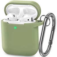 AirPods Case, Silicone Cover with U Shape Carabiner,360°Protective,Dust-Proof,Super Skin Silicone Compatible with Apple AirPods 1st/2nd (Army Green)