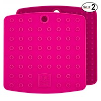 Set of (2) Premium, 5 in 1 Multipurpose Silicone Kitchen Tool: Trivet Mat, Pot Holders, Spoon Rest, Jar Opener, Coaster   Heat Resistant Hot Pads   Thick & Flexible   Great Gifts for Her (Fuchsia)