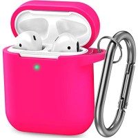 AirPods Case, Silicone Cover with U Shape Carabiner,360°Protective,Dust-Proof,Super Skin Silicone Compatible with Apple AirPods 1st/2nd (Rose Red)