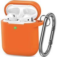 AirPods Case, Silicone Cover with U Shape Carabiner,360°Protective,Dust-Proof,Super Skin Silicone Compatible with Apple AirPods 1st/2nd (Orange)