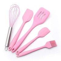 Silicone Cooking Utensil Set- Silicone Spatula Set Kitchen Utensil Set -Silicone Kitchenware Utensil Set Non-Stick & Heat Resistant for Cooking,Baking and Mixing BPA Free Heat Resistant 450?F (Pink)