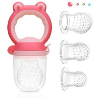 ORIYBaby Fruit Feeder Pacifier,Fresh Food Feeder, Infant Teething Toy,Silicone Pouches for Toddlers & Kids,Pink