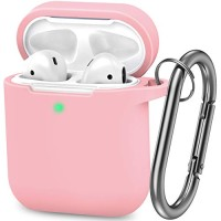 AirPods Case, Silicone Cover with U Shape Carabiner,360°Protective,Dust-Proof,Super Skin Silicone Compatible with Apple AirPods 1st/2nd (Pink)