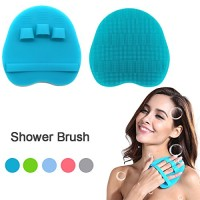 Pure Silicone Food-grade Body Brush Shower Cleansing Scrubber Gentle Exfoliating Glove Soft Bristles (Blue)