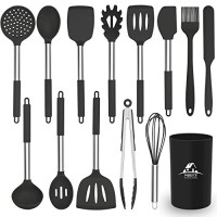 Kitchen Utensils Set 14 pcs Silicone Cooking Kitchen Utensils Set with Heat Resistant BPA-Free Silicone and Stainless Steel Handle Turner Spatula Spoon Tongs Whisk Cookware Kitchen Tools Set - Black