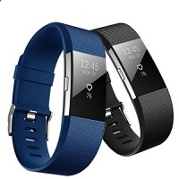 Hanlesi Bands Compatible with Fitbit Charge 2, Soft Silicone Breathable Fashion Sport Strap for Fit bit Charge2 Replacement Original Accessory