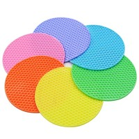 Round Hot Pots - Silicone Trivets Set for Hot Dishes 6 Pcs,Pot Holder,Spoon Rest,Jar Opener,Plate Mat,Cup Mat,Garlic Peeler Flexible Insulation Non-slip Durable Pad