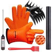 Eastking BBQ Gloves/BBQ Claws/Grill Mat/Meat Thermometer and Silicone Brush Superior Value Premium Set (5pcs Set) - Heat Resistant/Non-Slip/Safe/Cooking/Grilling Silicone Gloves for Indoor & Outdoor