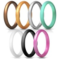 ThunderFit Womens Thin and Stackable Silicone Rings Wedding Bands - 7 Rings / 1 Ring 2.5mm Width - 1.8mm Thick