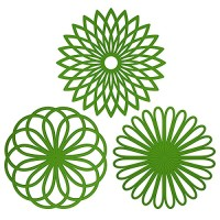 """HomeBuzz Silicone Trivet Mat Set of 3 Hot Pot Holder Heat Resistant up to 440°F, 7.8"""" x 7.8"""" Hot Pads for Table & Countertop, Multi-Purpose Kitchen Tool, Durable, Easy to Wash, Green"""